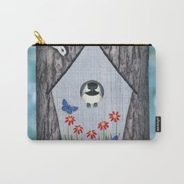 black capped chickadee, white breasted nuthatch, and bird house Carry-All Pouch