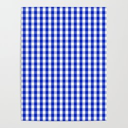 Cobalt Blue and White Gingham Check Plaid Squared Pattern Poster