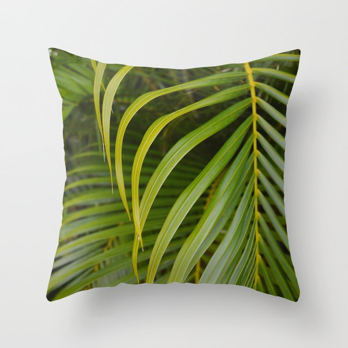 Summer Palm Leaves Throw Pillow