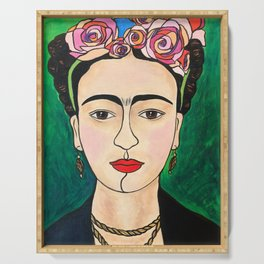 Frida Khalo Portrait Serving Tray
