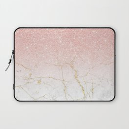 Rose Gold Glitter and gold white Marble Laptop Sleeve