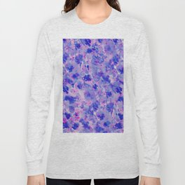 Hand painted navy blue pink watercolor floral pattern Long Sleeve T-shirt