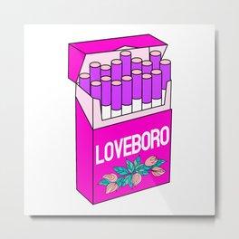 Loveboro cigarette packs pattern / girly stickers / pink grid Metal Print