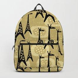 Mid Century Modern Giraffe Pattern Black and Gold Backpack