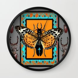 CONTEMPORARY  BUTTERFLY GREY STAG-HORNED BEETLES Wall Clock