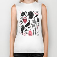 black Biker Tanks featuring Whole Lotta Horror by Josh Ln