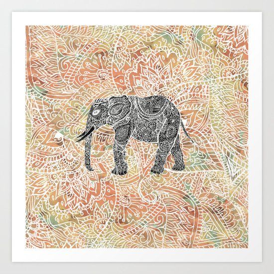 Tribal Paisley Elephant Colorful Henna Floral Pattern Art Print