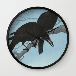 Two crows on a branch, Ohara Koson, 1927 Wall Clock