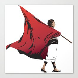 Woman with flag Canvas Print
