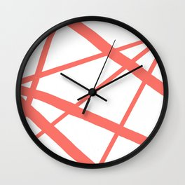 Living Coral Open Star Geometric Abstract on White Wall Clock