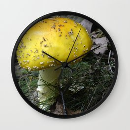 Yellow fungus Wall Clock