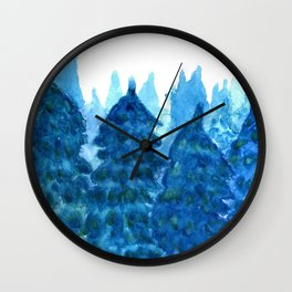 Winter Forest landscape watercolor Wall Clock