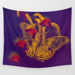 Red radioactive butterflies in glowing landscape Wall Tapestry