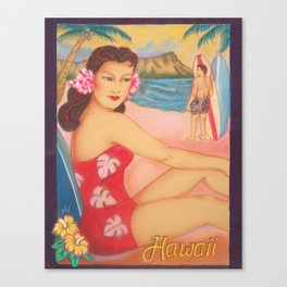 1950's Beach Girl, Waikiki Canvas Print