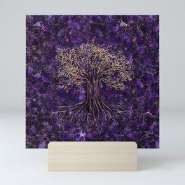 Tree of life -Yggdrasil Amethyst and Gold Mini Art Print
