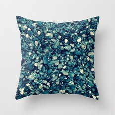 Pebbles in Blueish Throw Pillow