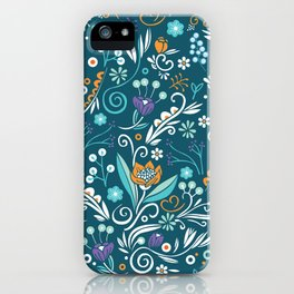 Flower circle pattern, blue iPhone Case