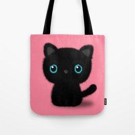 Sweet Black kitten on pastel pink Tote Bag