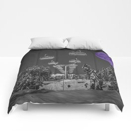 Chair Lift to the Purple Moon Comforters