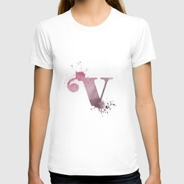 """""""V"""" Watercolour Letter Typography Illustration Hand Made Initial T-shirt"""