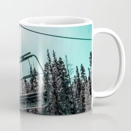Empty Skilift // Dark Blue and Teal Snowboarding Dreaming of Winter Coffee Mug