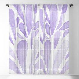 Watercolor artistic drops - lilac Sheer Curtain