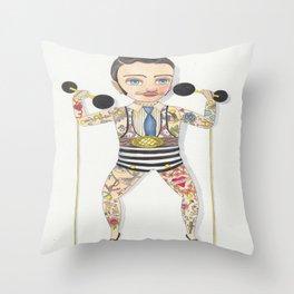 Circus strong man Throw Pillow