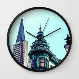 pyramid building and vintage style building at San Francisco, USA Wall Clock