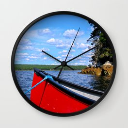 Red canoe in Shelburne, Nova Scotia Wall Clock