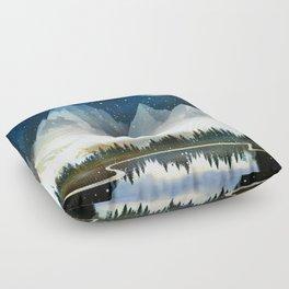 Mountain Lake Under the Starlight Floor Pillow