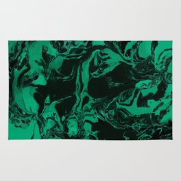 Green and black Marble texture acrylic Liquid paint art Rug