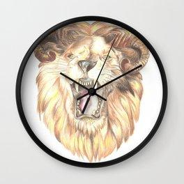Golden Horned Lion Wall Clock