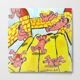 Pink People On Bouncy Castle Metal Print