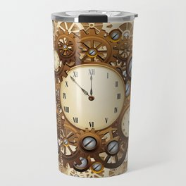 Steampunk Vintage Style Clocks and Gears Travel Mug