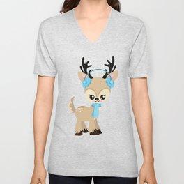 Cute Reindeer, Reindeer With Blue Ear Warmers Unisex V-Neck