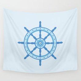 AFE Ship Wheel Light Blue, Nautical Art Print Wall Tapestry