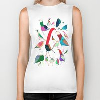 birds Biker Tanks featuring  Birds by Ashley Percival illustration