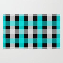 blue black checks Rug
