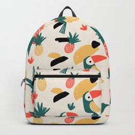 Abstract tropical green orange watercolor hand painted pineapple birds Backpack
