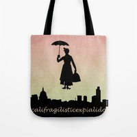 mary poppins Tote Bags featuring mary poppins by cubik rubik
