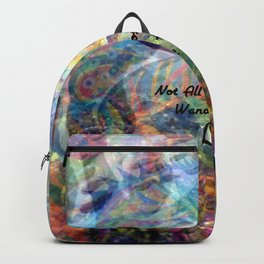 Not All Who Those Wander Are Lost Inspirational Quote With Beautiful Sea Turtle Painting Backpack