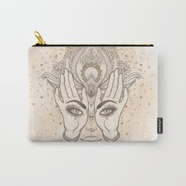 Peach & Gold Boho Lotus Carry-All Pouch