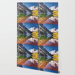 OLena Art Maroon Bells And Maroon Lake Near Aspen Colordo Wallpaper