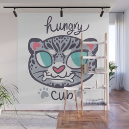 Baby Big Cats Snow Leopard Hungry Cub Wall Mural