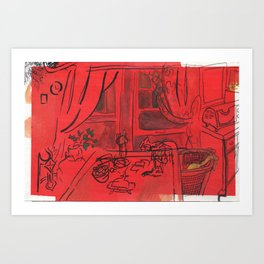 The Kitchen in Red Art Print