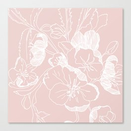 Floral Ink - Winter Roses in Blush Pink Canvas Print