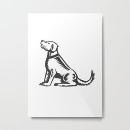 Welsh Terrier Sitting Woodcut  Metal Print