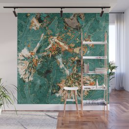 Macelas - Small flowers digitally stylized green marble Wall Mural