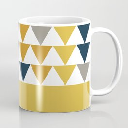 Arrows Cuff - Minimalist Geometric Color Block Pattern in Light and Dark Mustard, Grey, Navy Blue, and White Coffee Mug