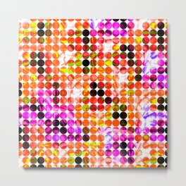 circle pattern abstract background with splash painting abstract in orange green pink Metal Print